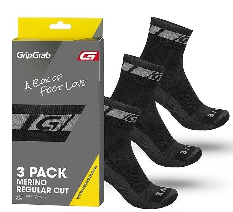 GripGrab 3-Pack Merino Regular Cut, sort